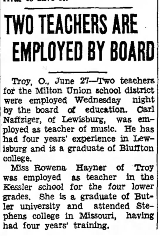 - TWO TEACHERS ARE EMPLOYED BY BOARD Troy, O.,...