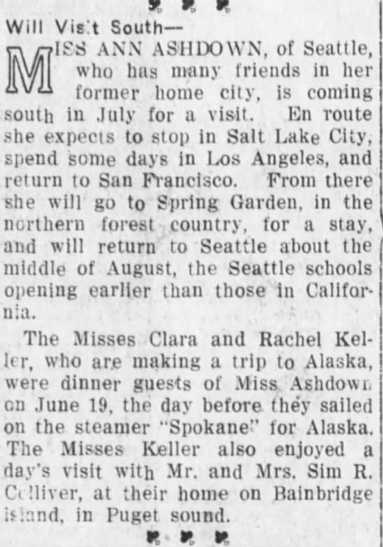 June 1912 Visit to San Bernardino by Ann Ashdown - y y y Will Visit South ' ISS ANN ASHDOWN, of...