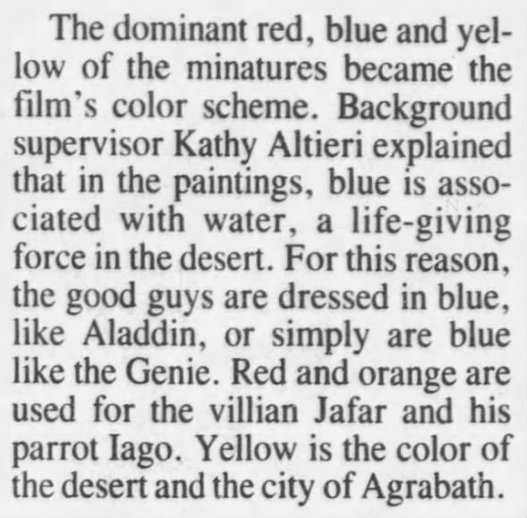 Use of color in Disney's Aladdin