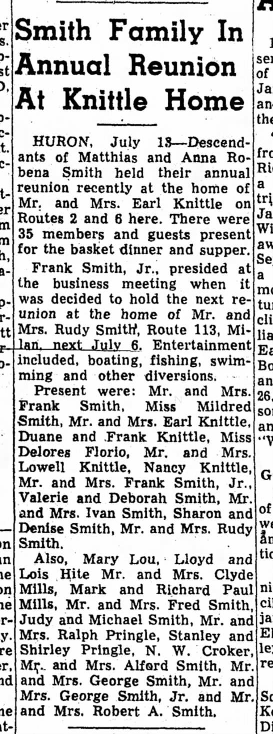 - Smith Family In Annual Reunion At Knittle Home...