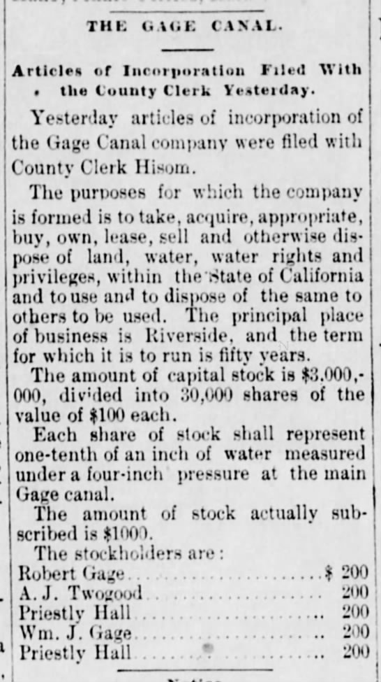 Gage Canal, Riverside, CA, 30 June 1888 - THE UAUK CANAL. Article of Incorporation Filed...