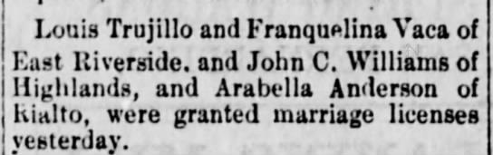 Trujillo-Baca marriage 10 Nov 1888 - Louis Trujillo and Franquelina Vaca of East...