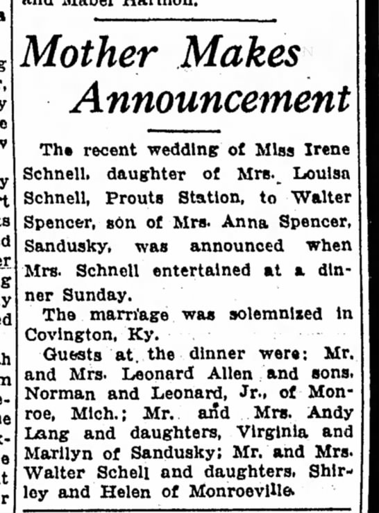 Irene Schnell wedding - Mother Makes Announcement The recent wedding of...