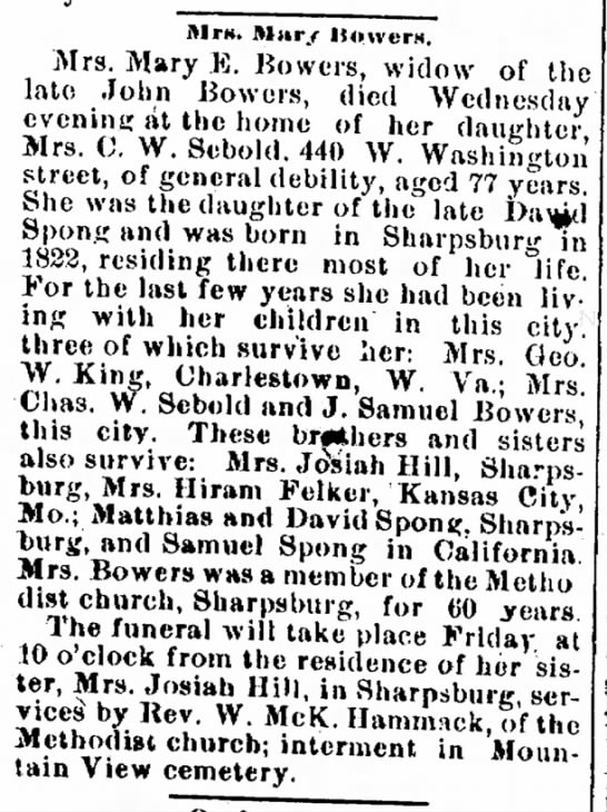 Mary Bowers obit