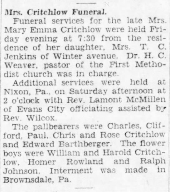 Mary Emma Campbell Critchlow Funeral 1929 Spouse Henry Cristopher Critchlow - .■Mrs. f r/trhlow Funeral. Funeral service.^...