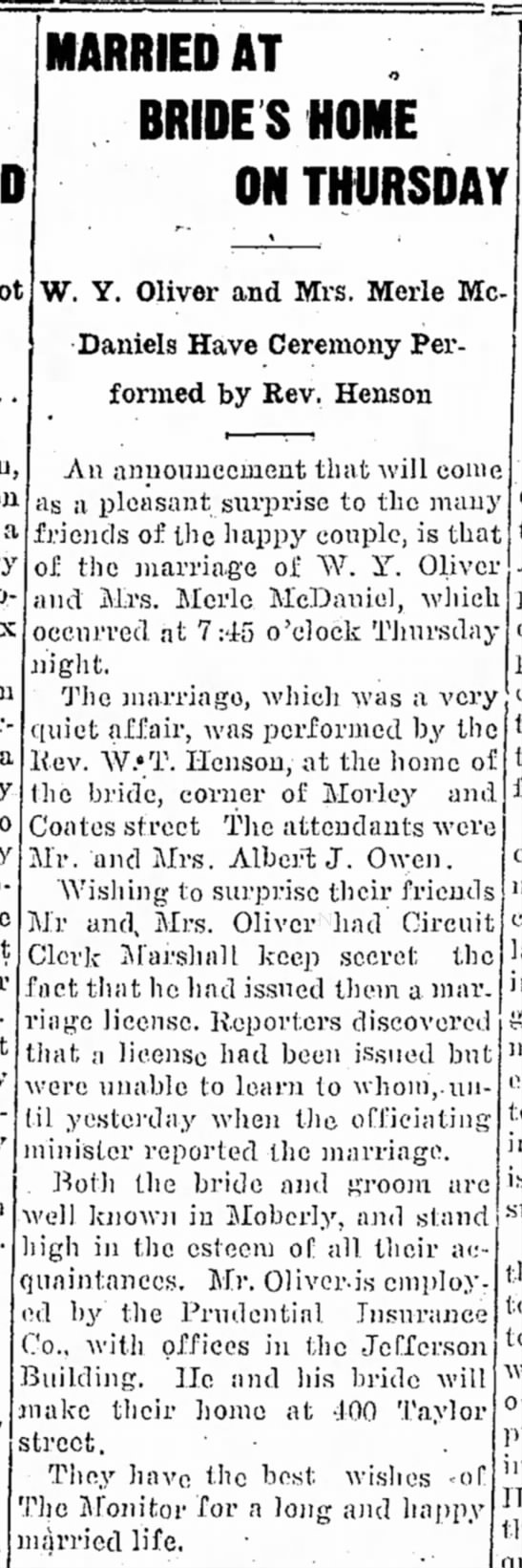 Merle McDaniel and WY Oliver marriage - Moberly Weekly Monitor, 8 Jun 1915, p1 - MARRIED AT BRIDES HOME ON THURSDAY a W. Y....