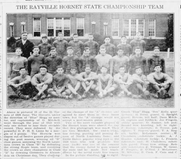 1929 Rayville Hornet State Championship Football Team