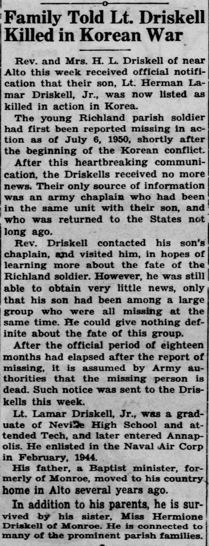 Lt. Herman Driskell, Jr. Killed in Korean War