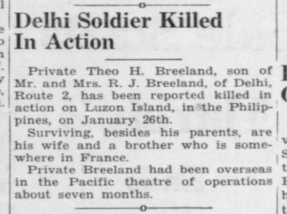 Delhi Soldier, Private Theo H. Breeland, killed in action in the pacific.