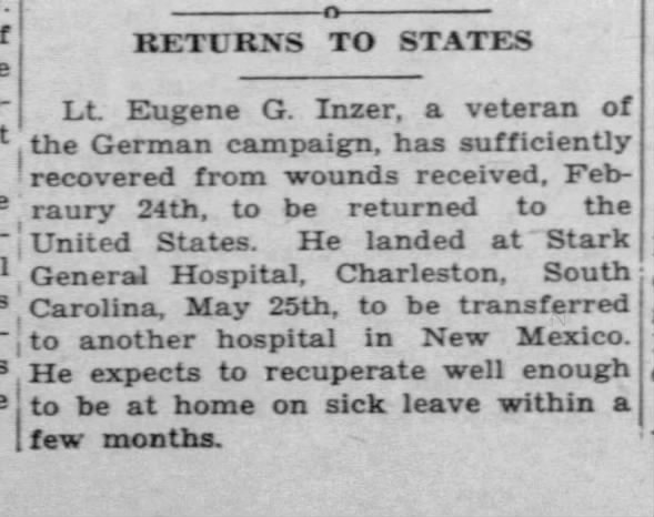 Lt. Eugene Inzer, veteran of German campaign sufficiently recovers from wounds.