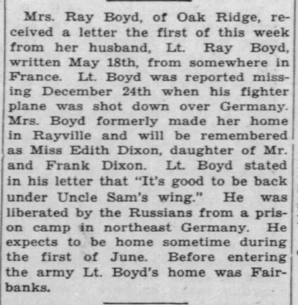 Lt. Ray Boyd letter to wife