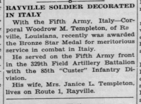 Rayville soldier Woodrow M. Templeton decorated in Italy
