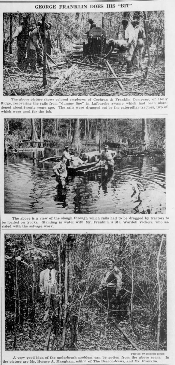 Salvaging the dummy line rail road rails through Lafourche swamp. George Franklin.