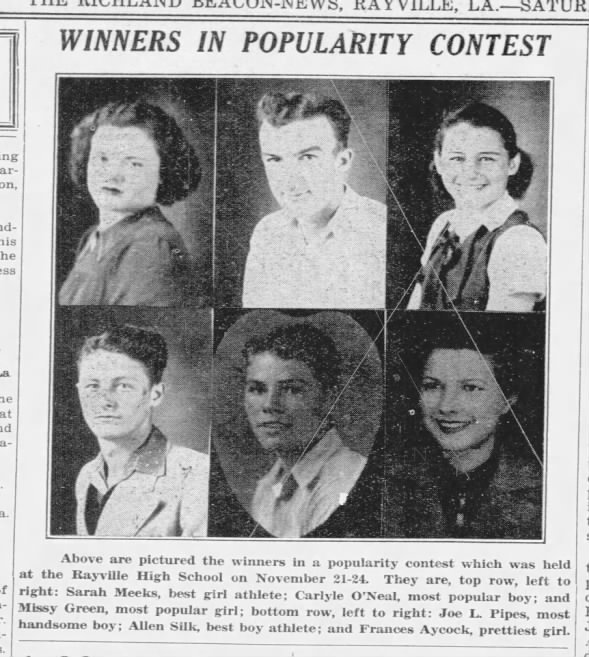 1938 Rayville High School Class Favorites