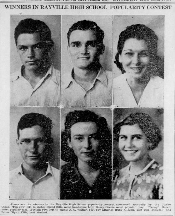 1940 Rayville High School Most Popular Students