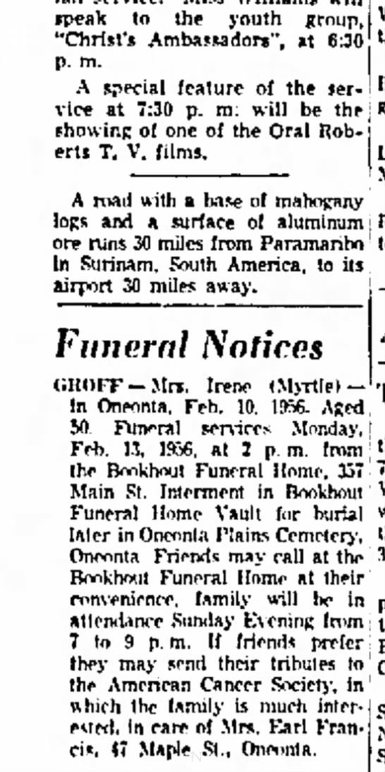 "Irene(Myrtle) Smith Groff Funeral Notice - speak to the youth group, ""Christ's..."