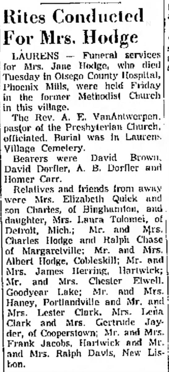 Jane Hodge The Oneonta Star Feb 1 1954 - Riles Conducted For Mrs, Hodge LAUREN'S for for...