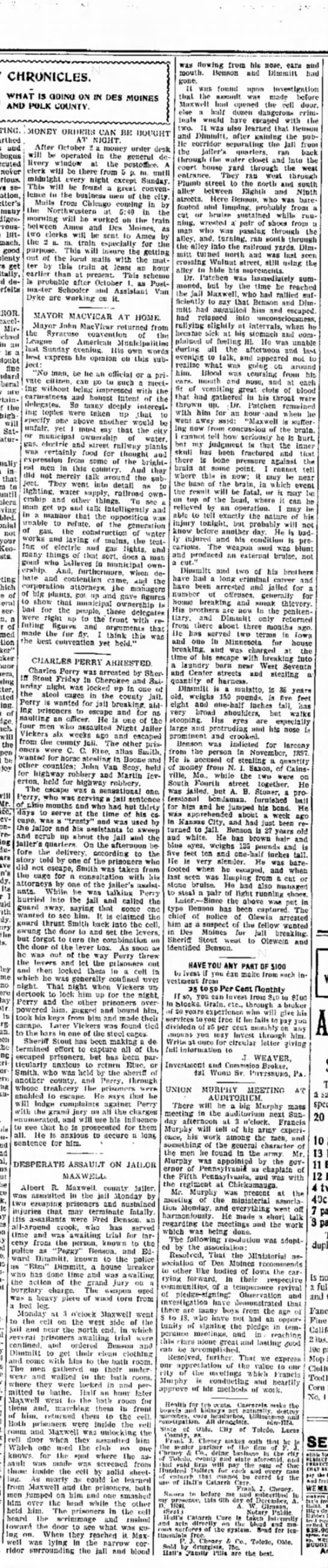 Dimmitts - crime 28 Sept 1899 The Des Moines Gazette - CHRONICLES. WHAT IS GOING ON IN DES MOINES AND...