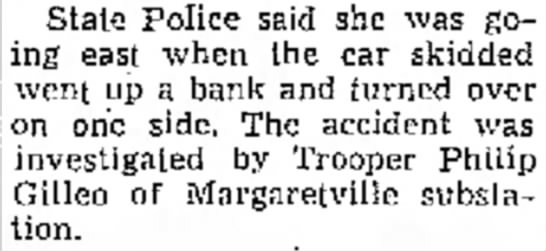Trooper Philip Gilleo of Margaretville substation - State Police said she was ing east when the car...
