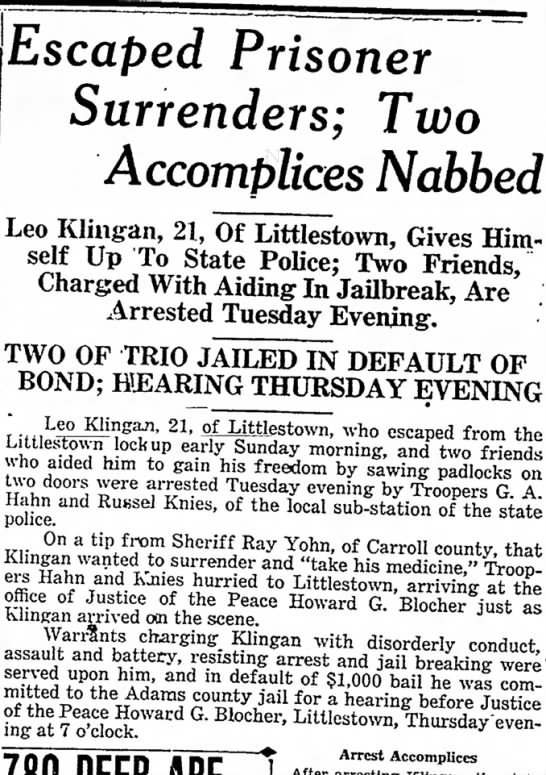 1932 John Hirt helps in escape page 1 of 2 - Wengert, not Escaped Prisoner Surrenders; Two...