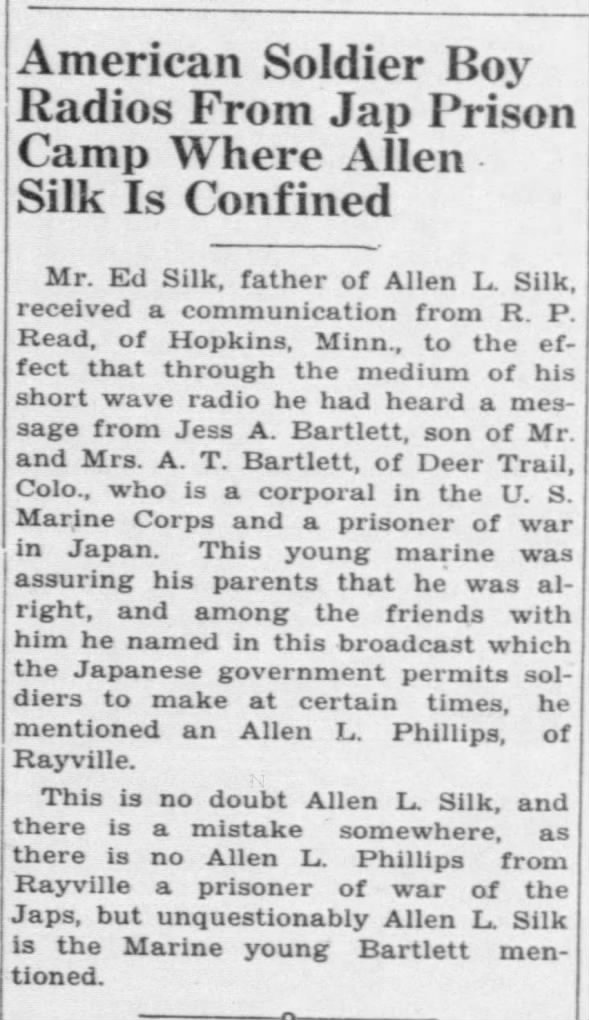American Soldier Boy Radios From Jap Prison Camp Where Allen Silk Is Confined