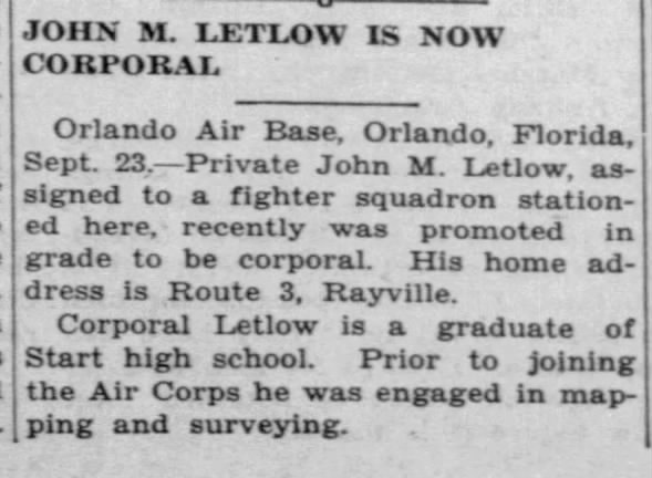 John M. Letlow - Named as Corporal Letlow