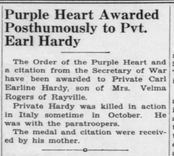 Purple Heart awarded posthumously to Pvt. Earl Hardy