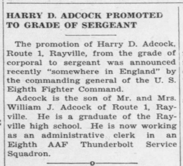 Harry D. Adock promoted to grade of Sergeant