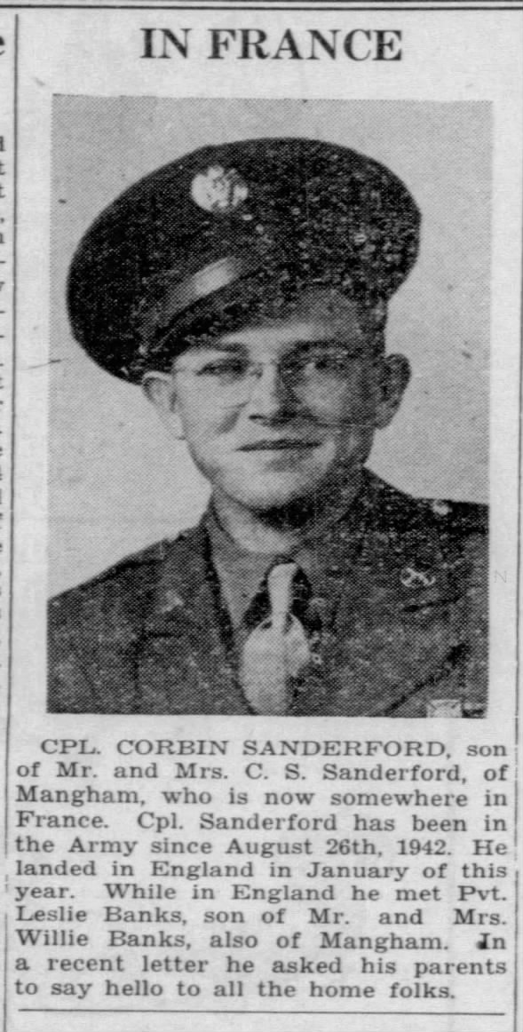 Cpl. Corbin Sanderford of Mangham stationed in France.
