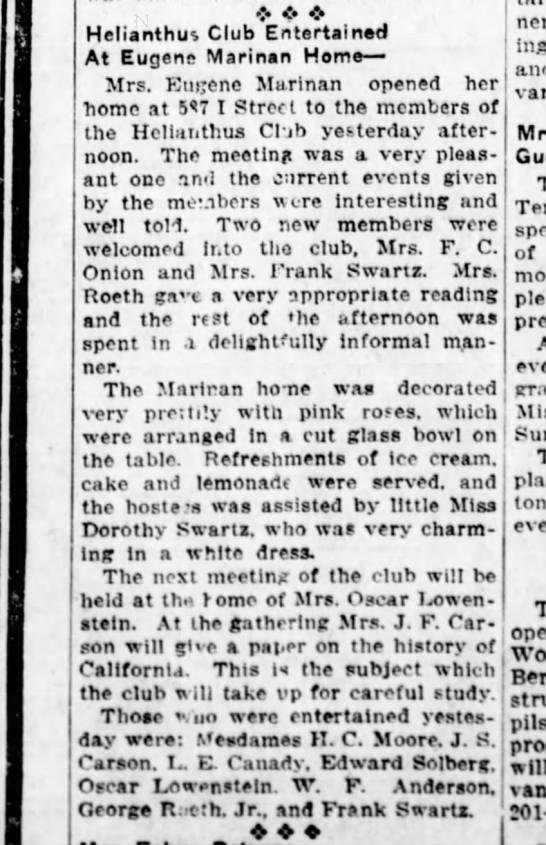 1920 Mrs Eugene Marinan Entertains Helianthus Club - Helianthut Club Entertained At Eugene Marinan...