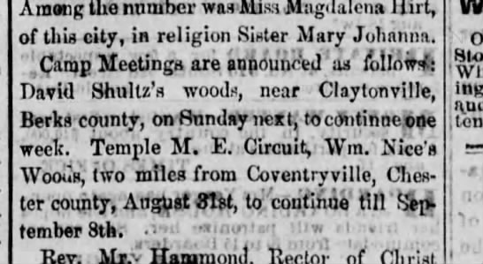 Reading Times 8-20-1870 - Among the number was Miss Magdalena Hirt, of...