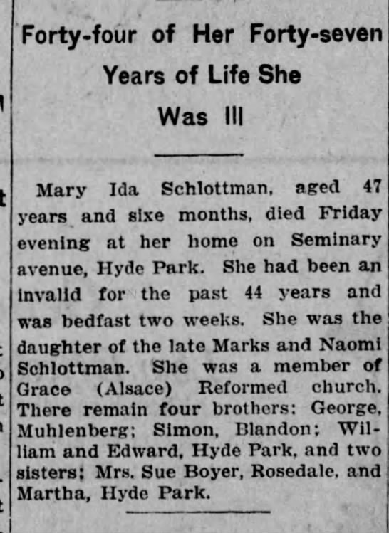 Mary Ida Schlottman Obituary Reading Times (Reading, Pa) 4-3-1920 - Forty - four of Her Forty - seven Years of Life...