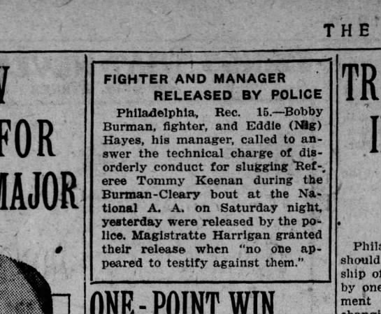 bobby butrman - THE' FOR MAJOR FIGHTER AND MANAGER RELEASED BY...
