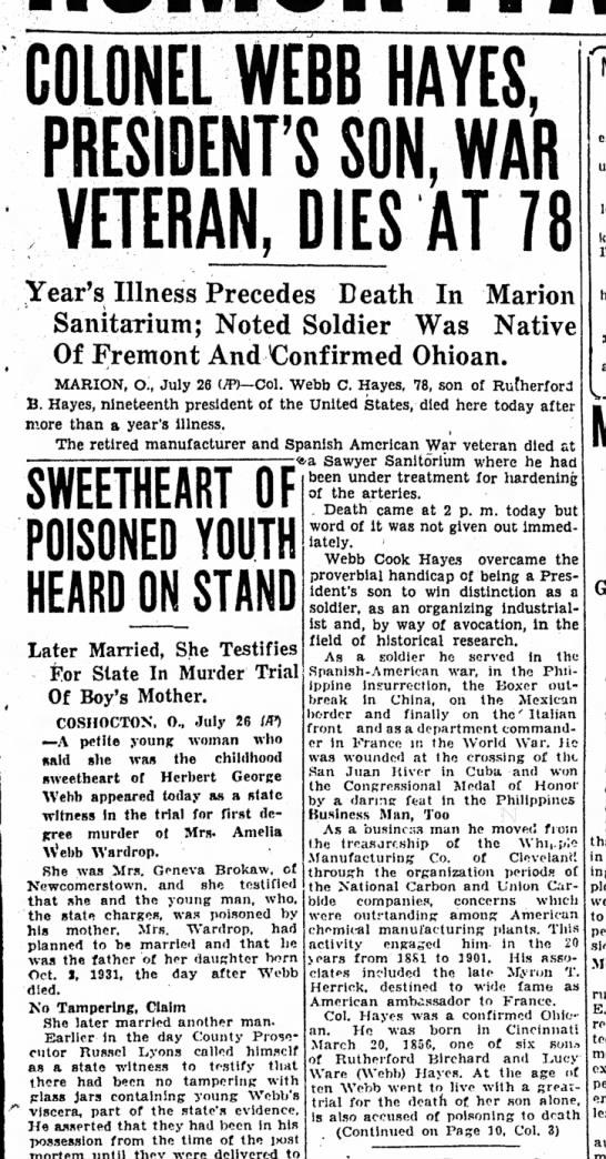 Col Webb Hayes dies-Sandusky Register, Ohio-p.1-27 July 1934, part 1 - COLONEL WEBB HAYES, PRESIDENT'S SON, WAR...