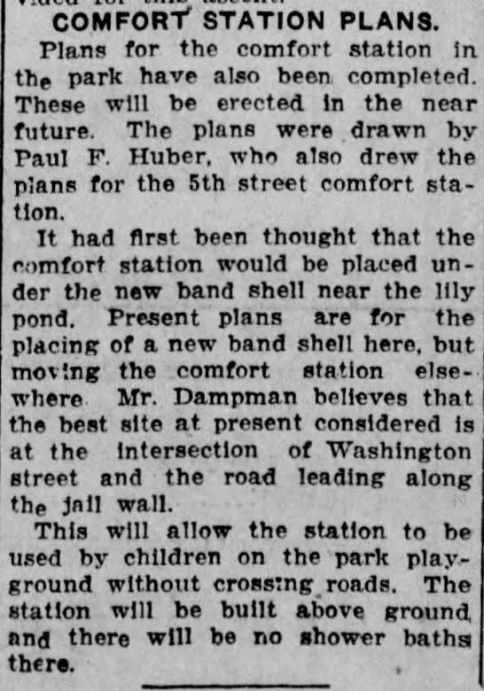 19210803 - COMFORT STATION PLANS. Plans for the comfort...