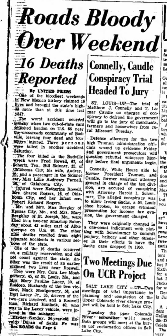 Roads Bloody over Weekend June 11, 1956 Near Budville, NM Bloody 66 - jjioads Bloody Weekend Deaths (Connelly, Caudle...