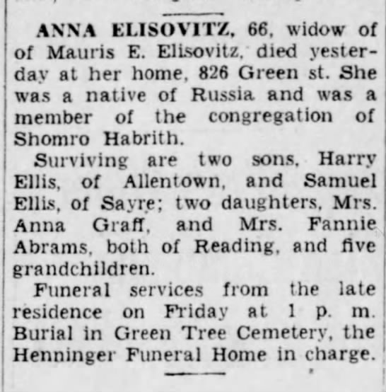 Harry Ellis's mother - ANNA ELISOVITZ, 66, widow of of Mauris E....