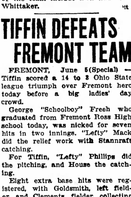 Tiffin Defeats Fremont Team - Whittaker. TIFFIN DEFEATS FREMONT TEAM FREMONT,...