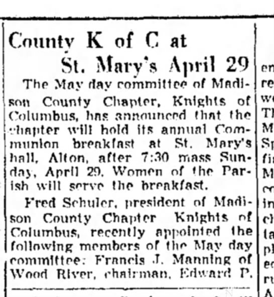 F J Manning KC - County K of C at St. Mary's April 29 The Mny...