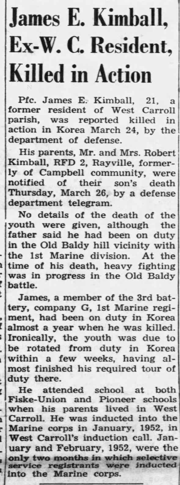 James E. Kimball KIA - Korean War