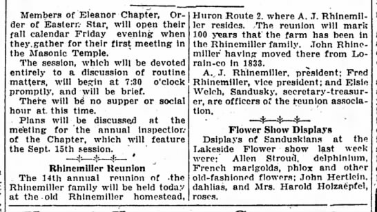 Rhinemiller Reunion - Members of Eleanor Chapter, Order Order of...
