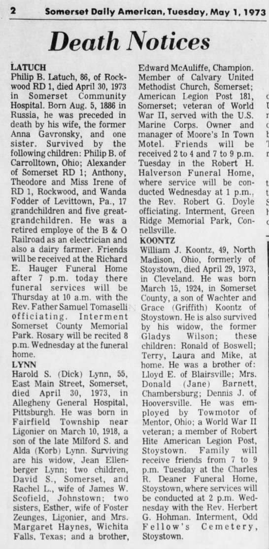 Obituary Harold S Lynn 1973 Somerset Daily American 1 May 1973 page 2