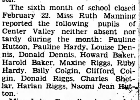 Ruby and Pauline Hardy school Iola Register 27 Feb 1935 - The sixth montli of .school closed February 22....