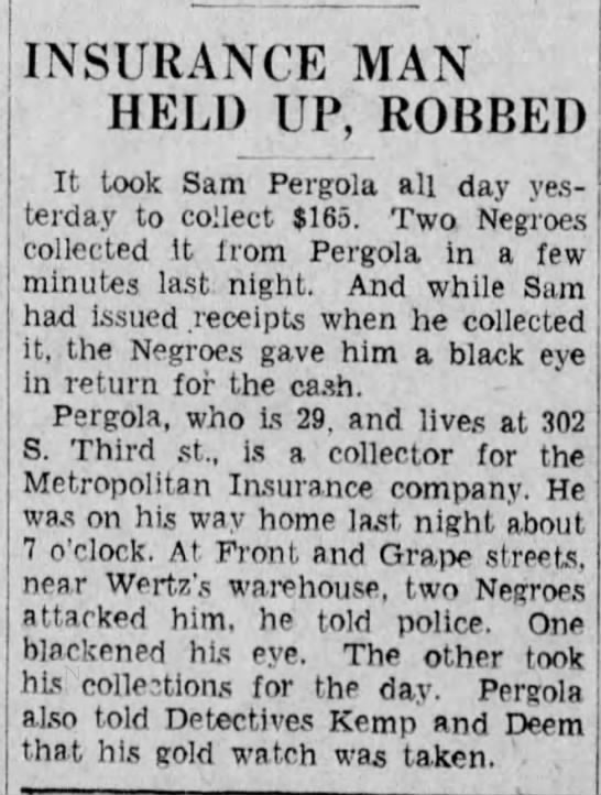 Pergola_Samuel_Robbery_1930 - INSURANCE MAN HELD UP, ROBBED It took Sam...