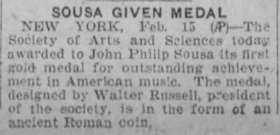 Reading Times (Reading, Pennsylvania) 16 February 1928  Page 12 - SOUSA GIVEN MEDAL NEW YORK, Feb. 13 The Society...