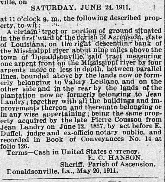 jean coussou 1911 - Donaldsonville, on SATURDAY, JUNE 24, 1911, at...