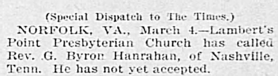 Hanrahan-GByron-Lambert's Presbyterian Church call - (Special Dispatch to The Times.) NORFOLK, VA.,...