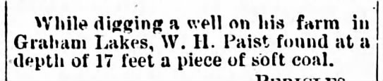 1885 - While digging a well on his farm in Graham...