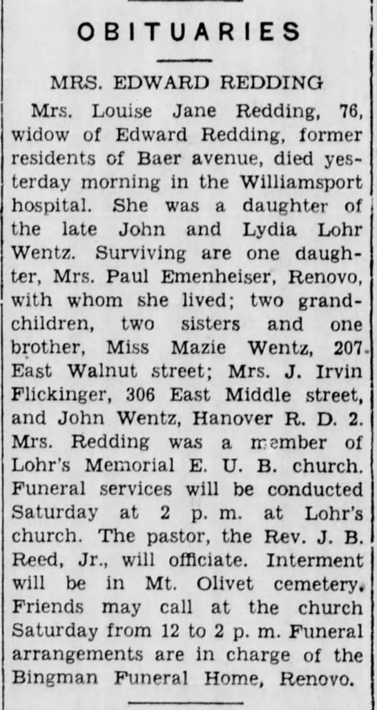 - OBITUARIES MRS. EDWARD REDDING Mrs. Louise Jane...