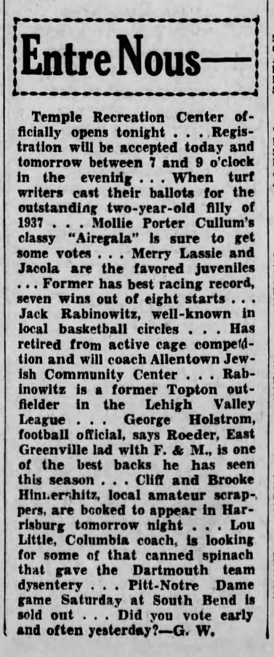Jack Rabinowitz will coach Allentown Jewish Community Center, Nov 1937 - EntreNou, Temple Recreation Center officially...